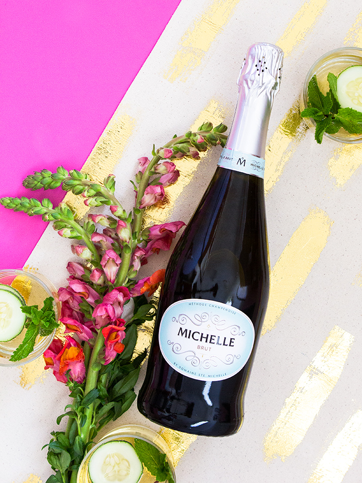 Michelle sparkling wine makes the perfect base for a delicious cocktail! Click through for the recipe and step-by-step tutorial on making this pretty gold table runner.