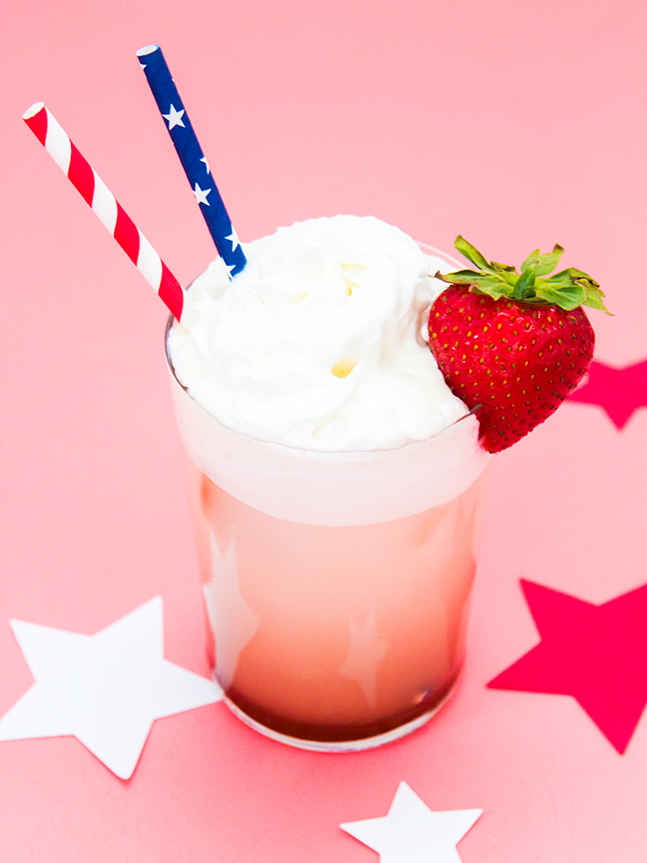 Fresh strawberry syrup is the sweet base for this delicious Italian soda punch (click through for recipe)