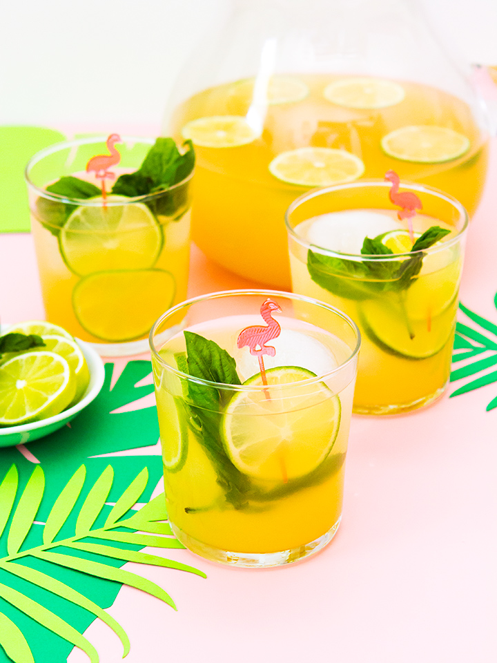 Looking for the perfect summer punch recipe? Try this tropical basil punch at your next summer party. It combines fresh basil, guava, pear, and pineapple juices with Smirnoff to make a delicious tropical punch. #Punch4Everybody #ad