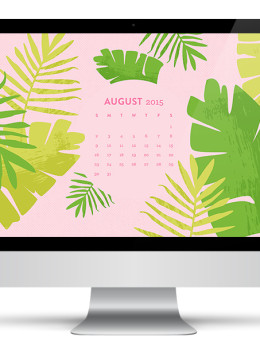 Add some color to your tech and stay organized with this pretty palm wallpaper. Features an August 2015 calendar for quick reference!