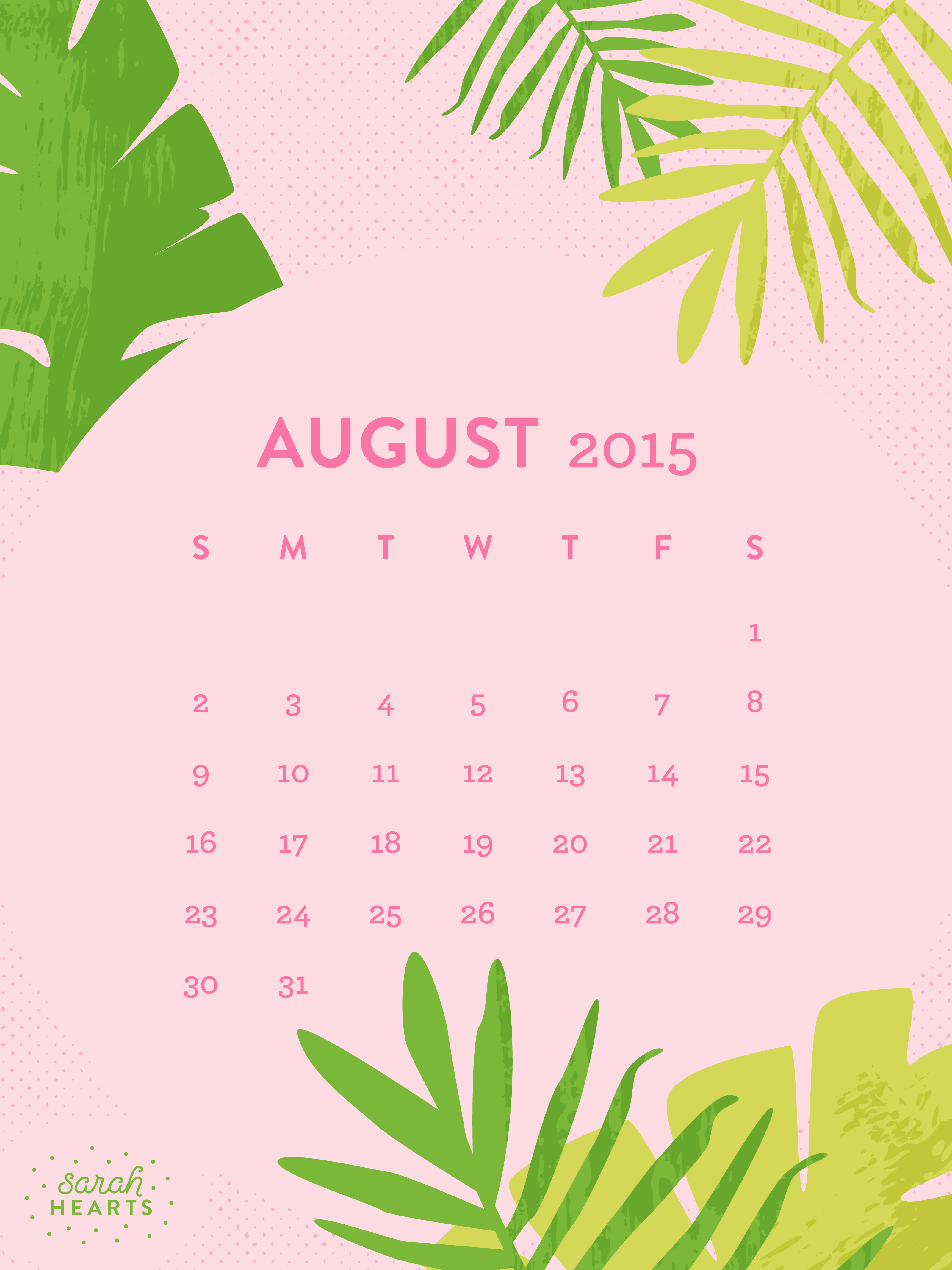 Calendar Wallpaper Ipad : August calendar wallpaper sarah hearts