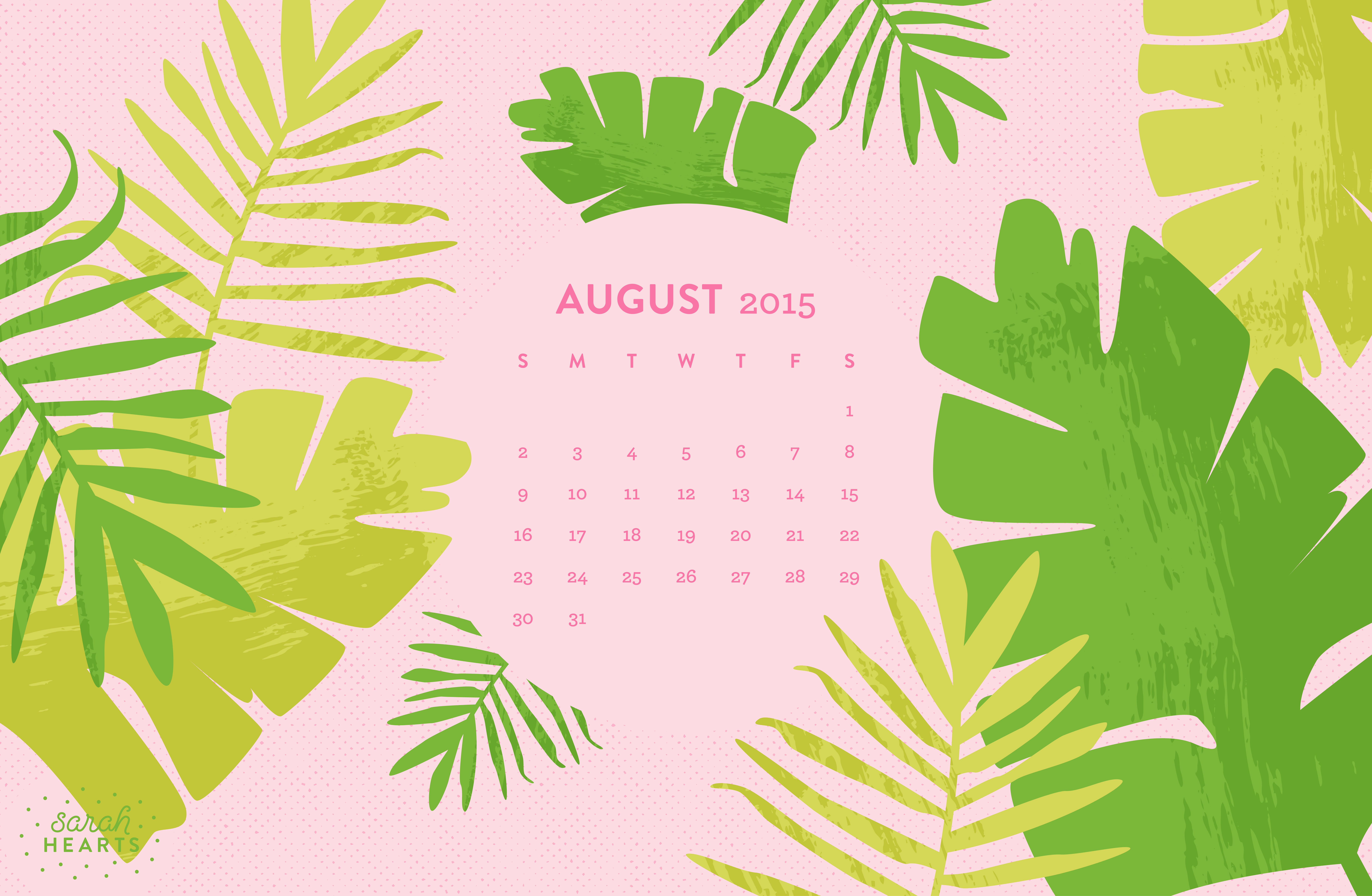 Calendar Wallpaper Mac : August calendar wallpaper sarah hearts