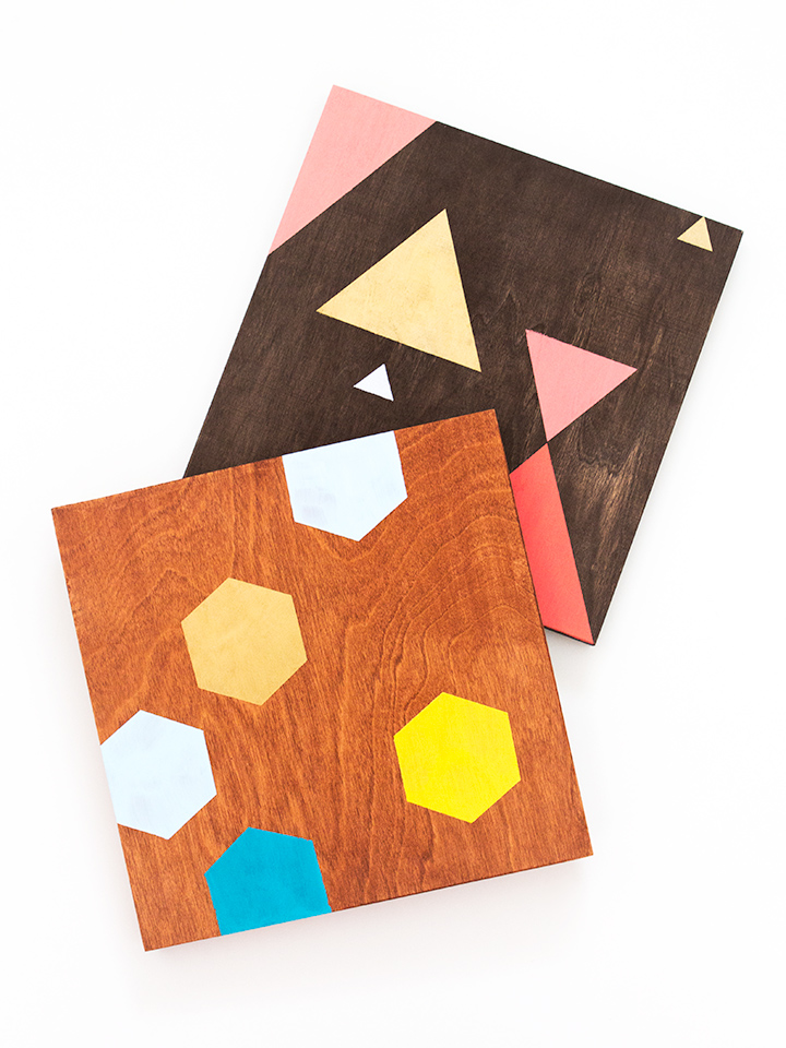 Love these geometric wood panels! Buy all the supplies in an adorable box. Click through for details.