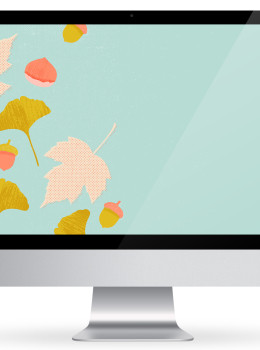 Acorns, maple leaves, ginkgo leaves, and chestnuts! Download this cute free fall wallpaper by Sarah Hearts