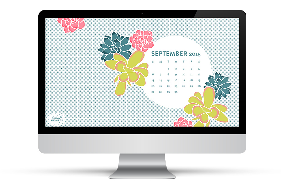 Add some succulents to your desktop, phone or tablet with this free September 2015 calendar wallpaper by Sarah Hearts.