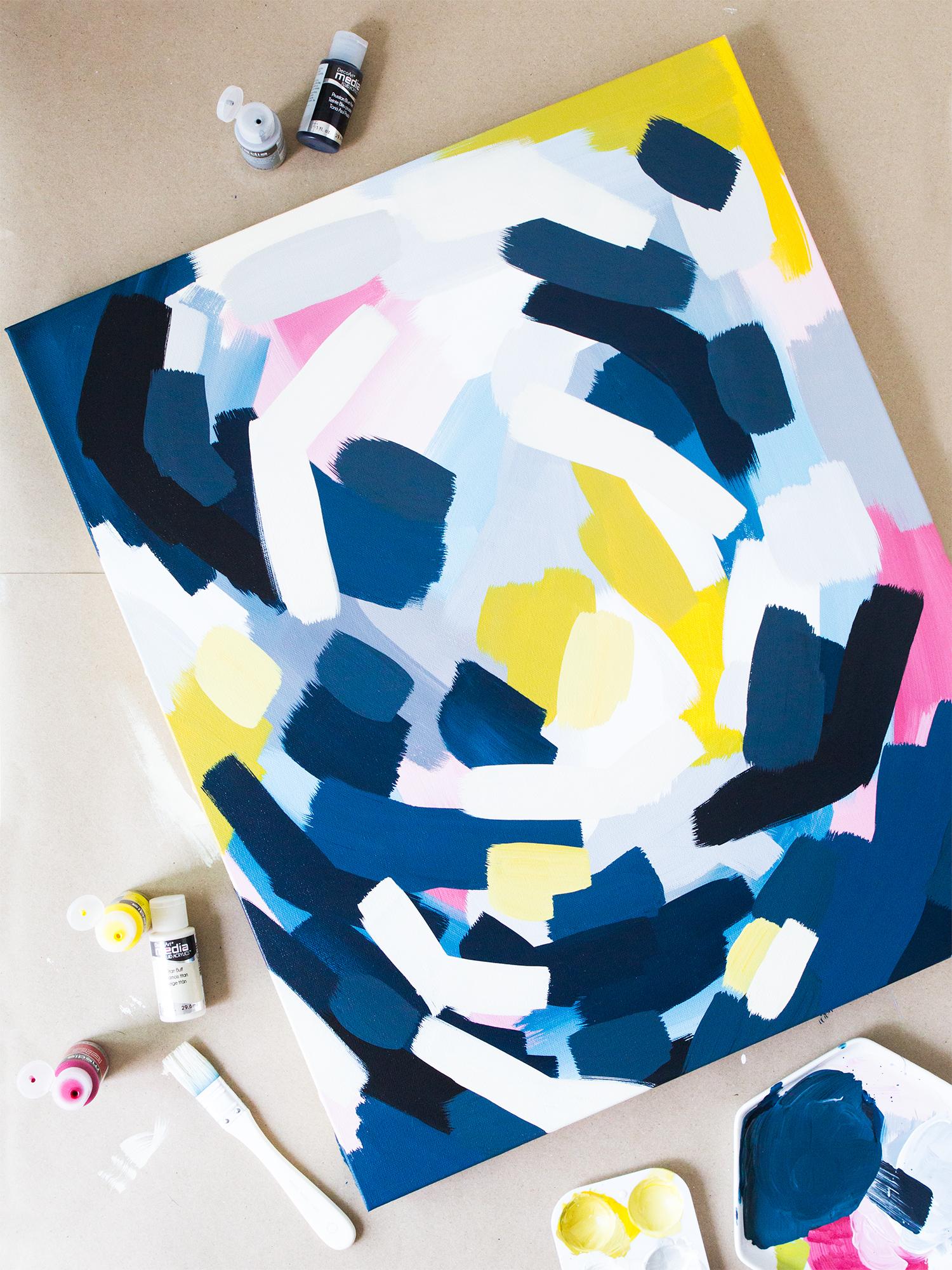 DIY Layered Abstract Wall Art - Sarah Hearts
