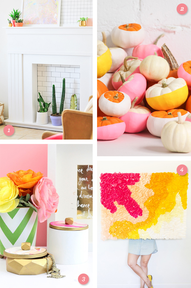 Add pinks, yellows and bright white to your space with one of these fun DIY projects! (Click through for direct links to each one)