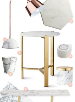 Loving the marble trend these days! Here are some great items to add a pop of marble to your home (Click through for links to each item)