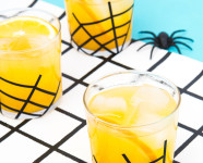 Vanilla Spiced Gin and Orange Juice Cocktail with DIY Spider Glassware