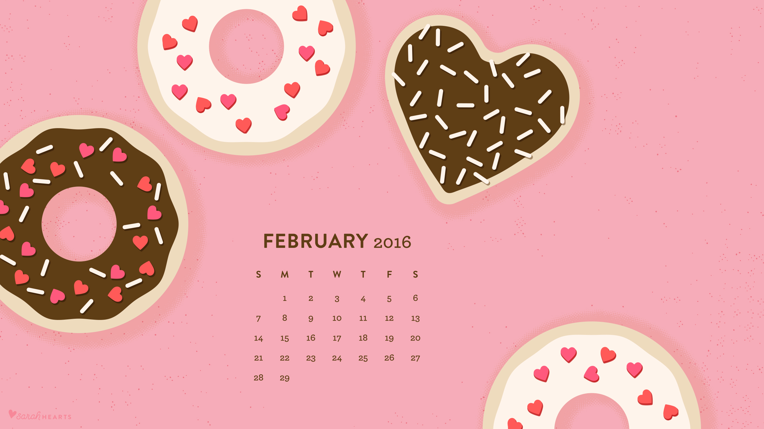 February 2016 calendar wallpaper sarah hearts for Terengganu home wallpaper 2016