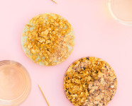 DIY Anthropologie Gold Leaf and Resin Coasters