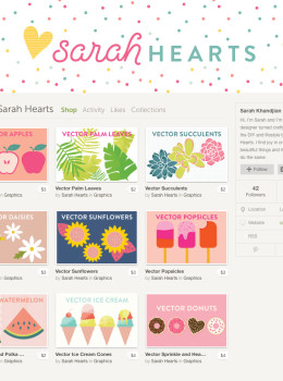 Love vector graphics but don't have the time or knowledge how to create them from scratch? Then check out @sarahhearts' shop on Creative Market. Such cute graphics available!