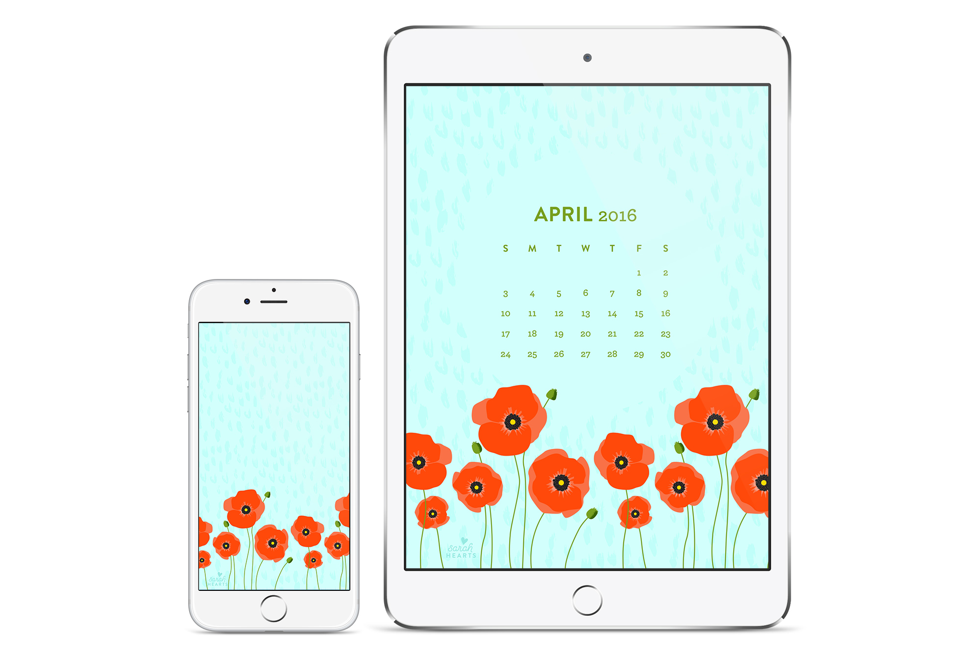 Add some fresh picked poppy flowers to your phone or tablet with this free downloadable calendar wallpaper by @sarahhearts.