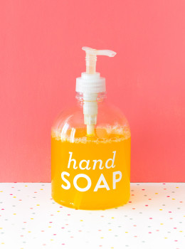 Save money by making your own all natural liquid hand soap (Click through for the video tutorial).
