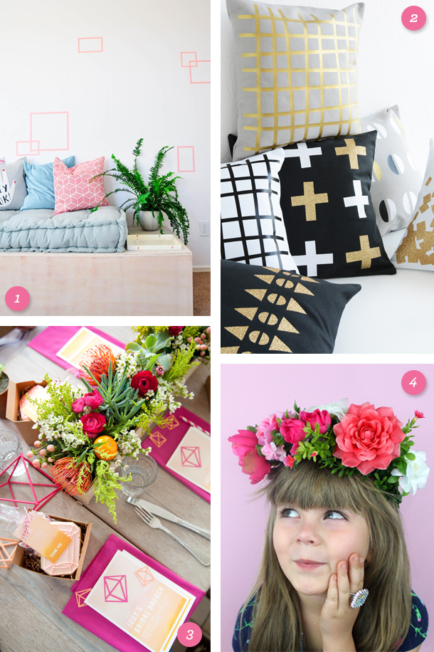 Geometric wall, DIY geo throw pillows, geo themed bridal shower and DIY floral crown on this weeks links to love by @sarahhearts