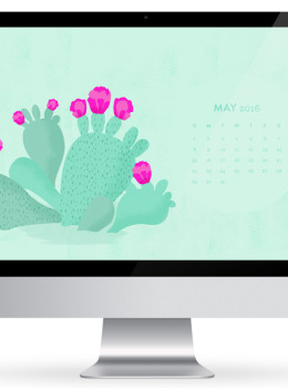 Let the sunshine in! Decorate your phone, computer, and tablet with this cute beaver tail cactus wallpaper! Available with a May 2016 calendar too!