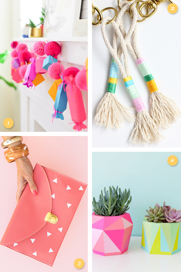 Add some color to your home or wardrobe with these fun bright colored DIY projects!
