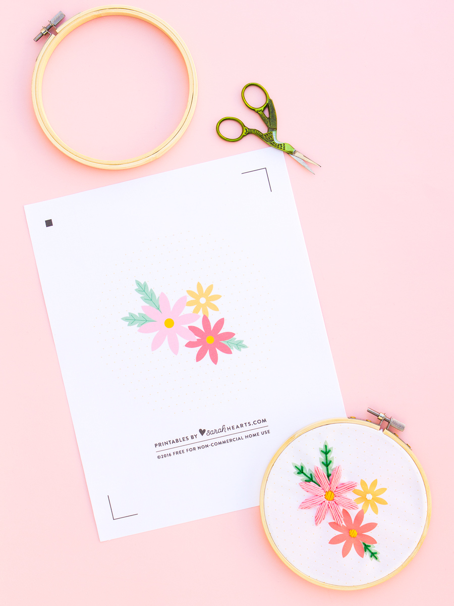 Give mom something handmade this Mother's Day! Embellish this free printable download with easy embroidery for a special gift (click through for tutorial)