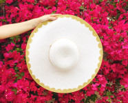 DIY Gold Scalloped Floppy Hat
