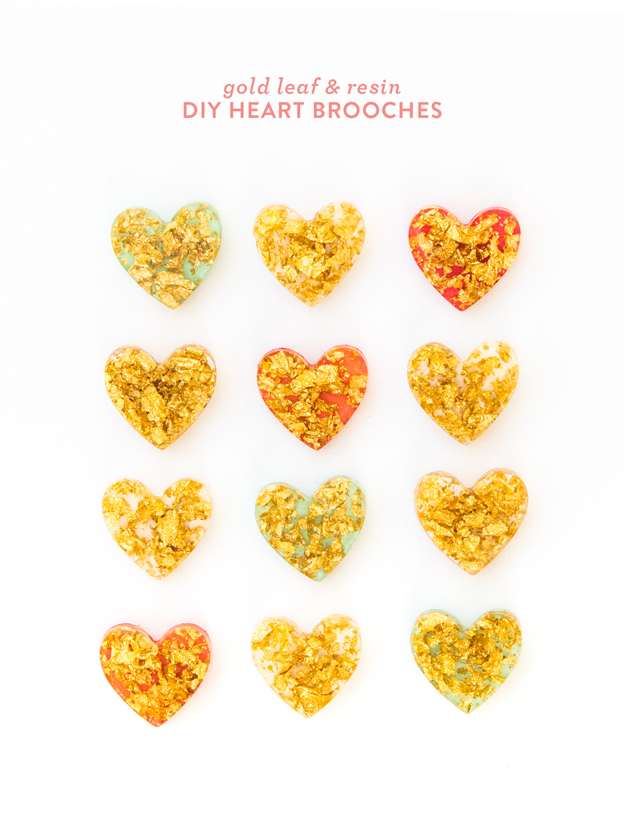 Learn how to make your own shimmery gold leaf heart brooches using just a few supplies! Click through for video tutorial.