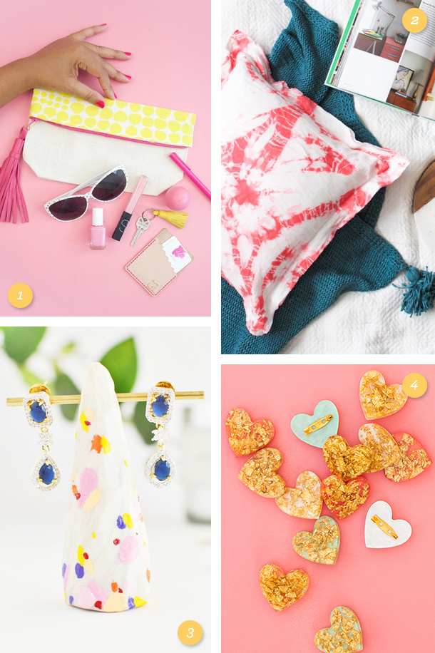 Make a clutch, shibori pillow, earring stand or gold heart brooch this weekend! Click through for tutorials to each easy DIY project.