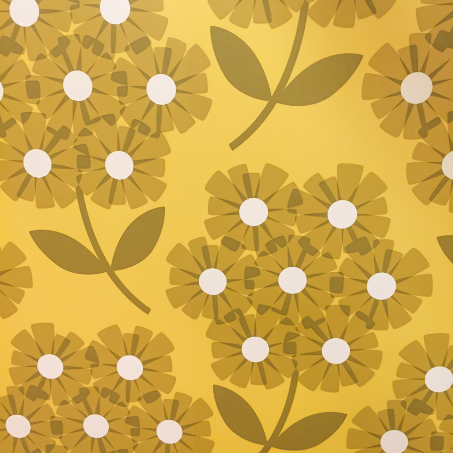 Orla Kiely wallpaper found in the flagship shop in London