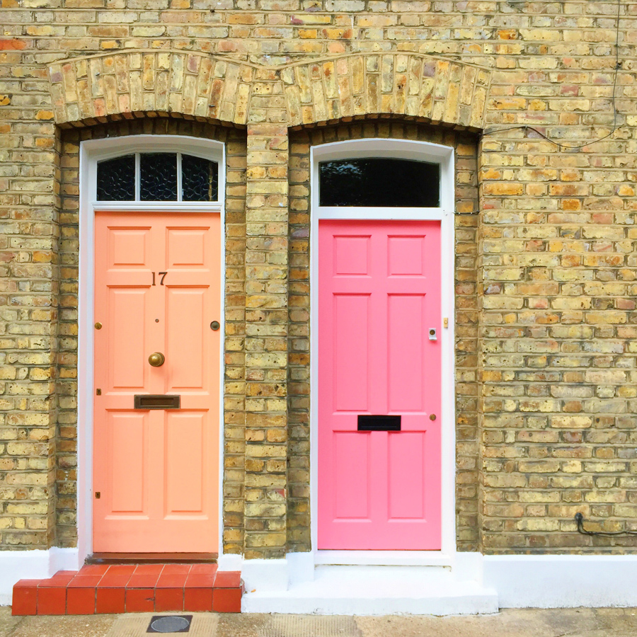 Pretty colored front doors in London