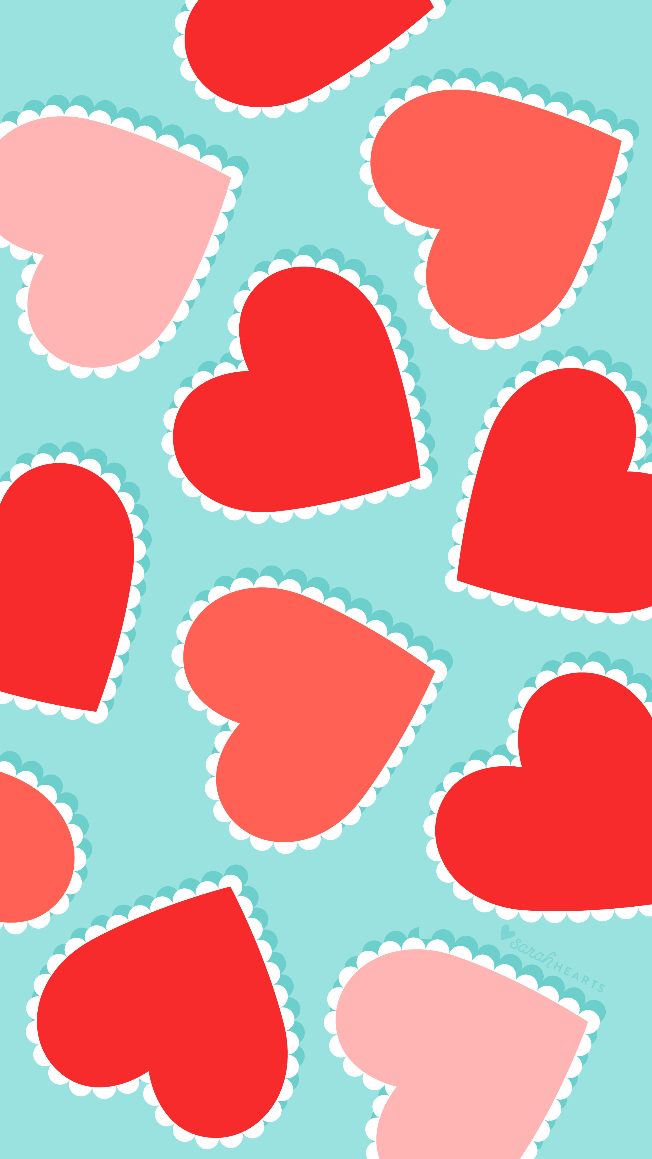 Scalloped red heart iPhone and Android wallpaper with blue background