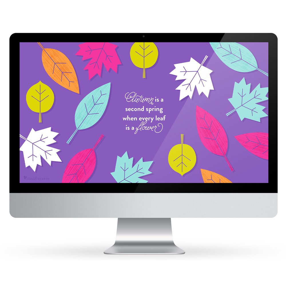 Decorate your screen with this free inspiring fall leaf wallpaper! Available for computers, phones and tablets.