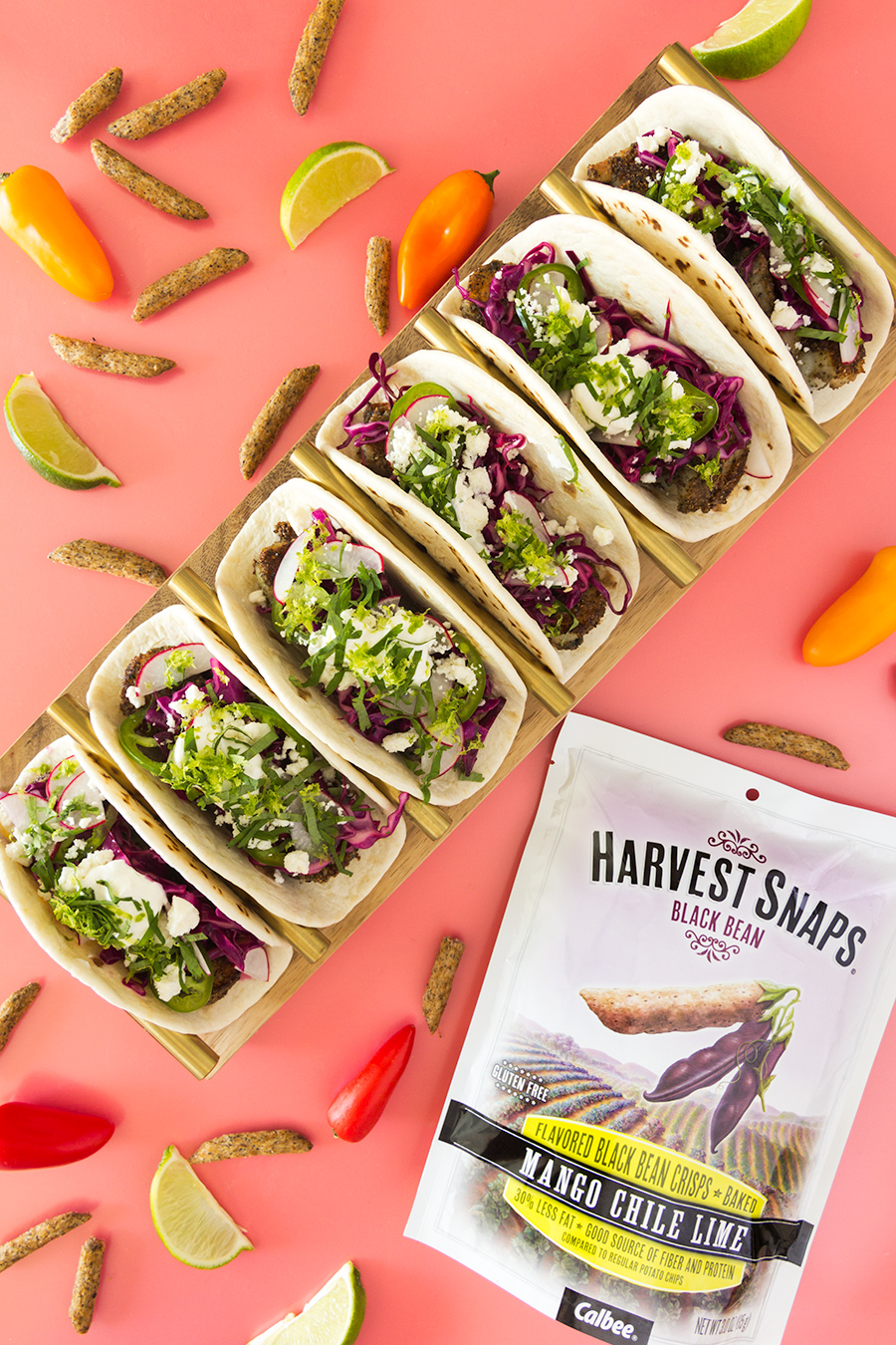 Make delicious shrimp tacos in no time using @HarvestSnaps as a quick seasoning.