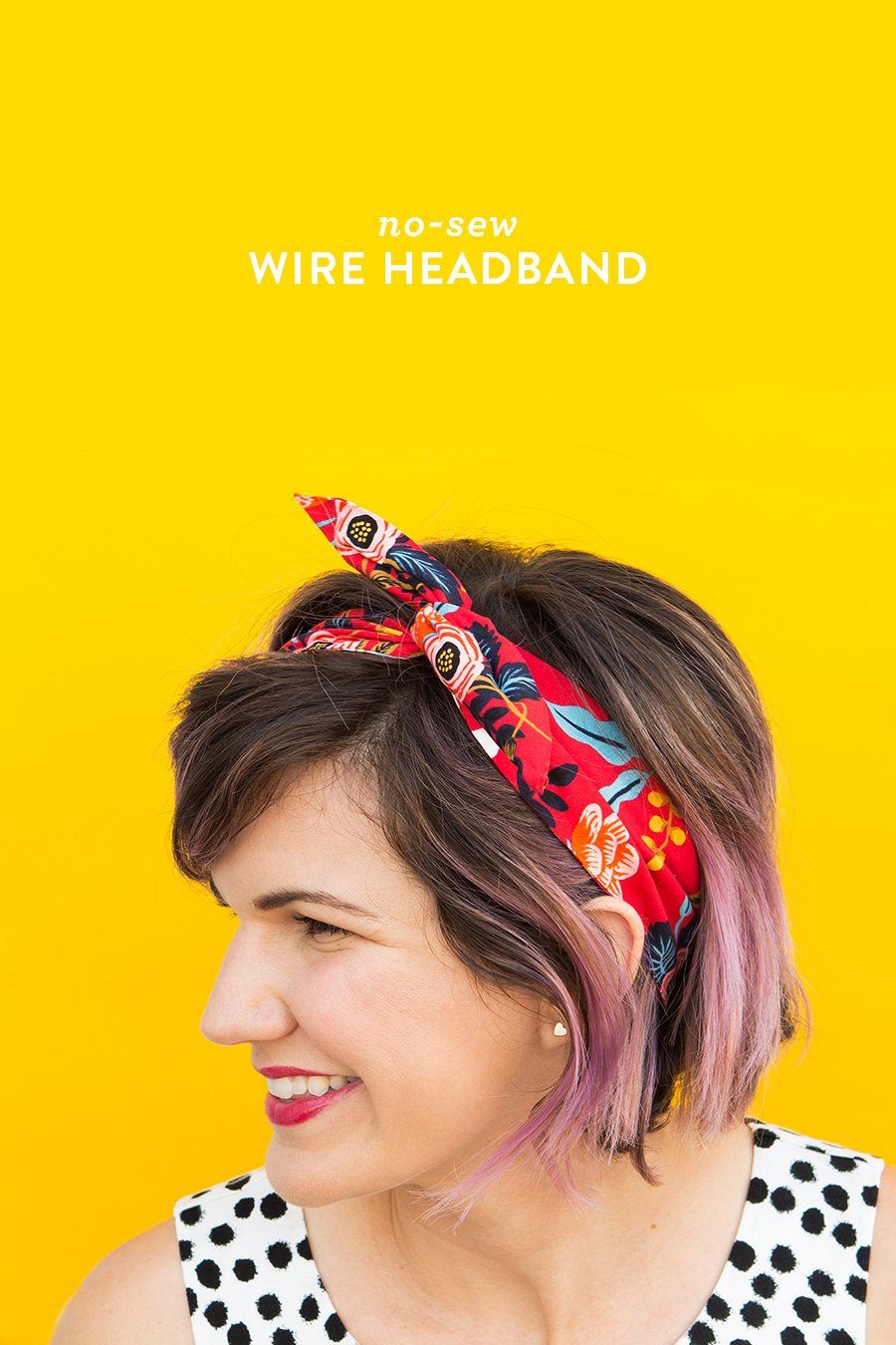 Use up scraps of your favorite fabrics to create this easy no-sew wire headband. (Click through for video tutorial)
