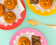 Mini Cheese Ball Pumpkins and DIY Scalloped Plates