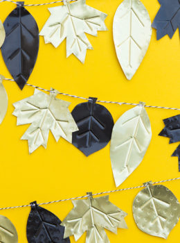 Decorate your home for fall by making this modern metal leaf fall garland!