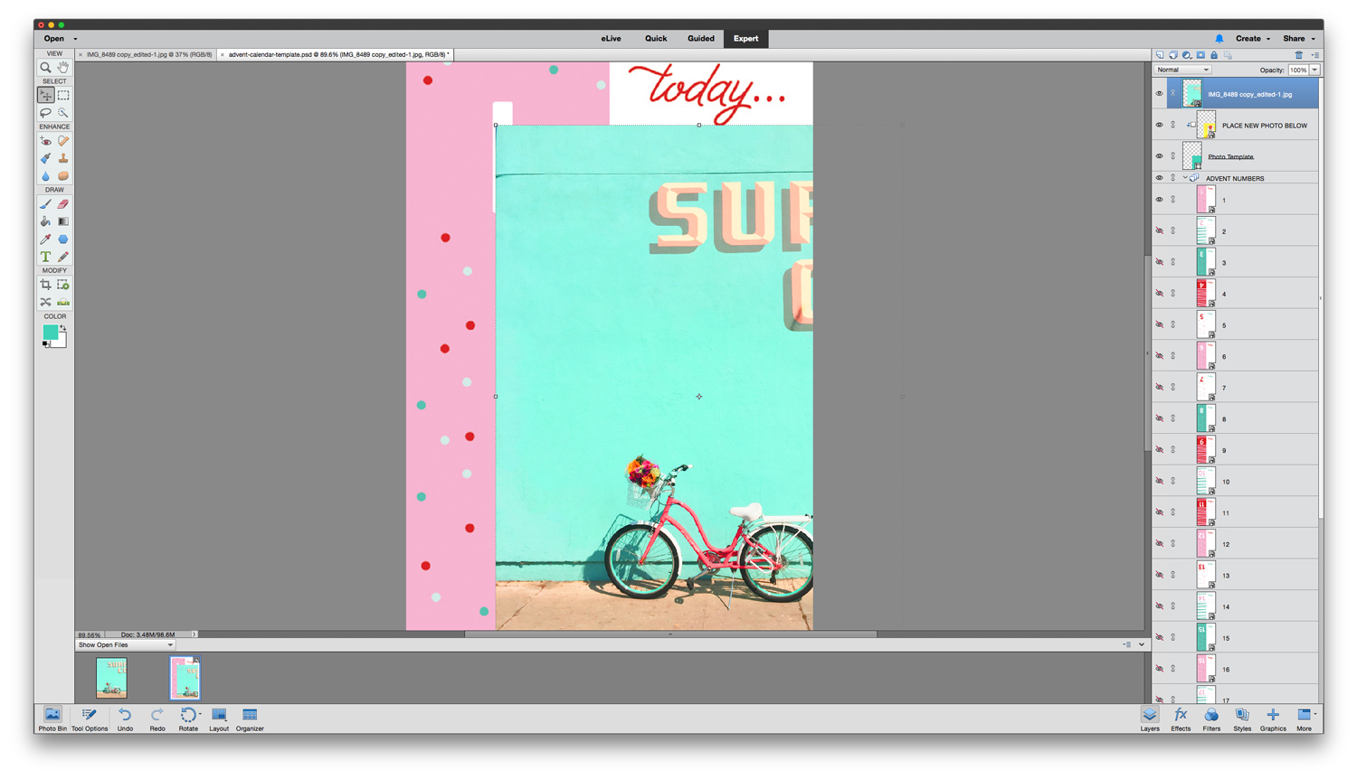 Create your own custom advent calendar using Adobe Photoshop Elements 15