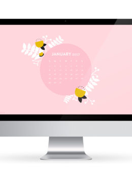 Free January 2017 calendar wallpaper for iPhone, computer, and iPad.
