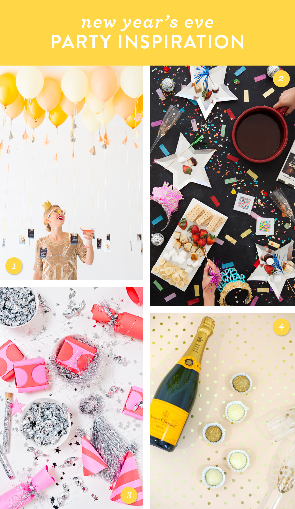 Host a fabulous New Year's Eve party! Try one of these easy DIY ideas.