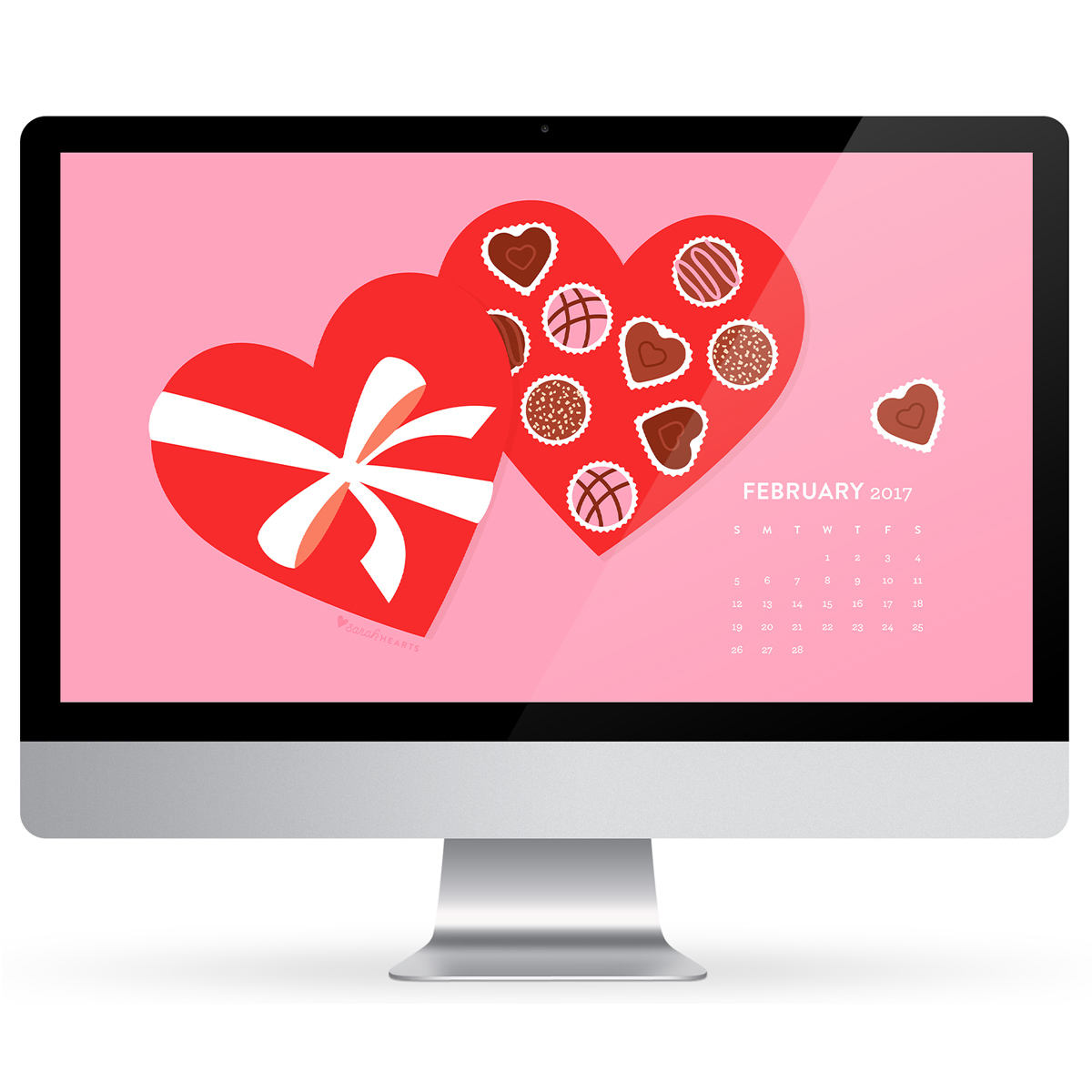 Show your computer, phone and tablet some love this season with this free February 2017 heart chocolate box wallpaper!