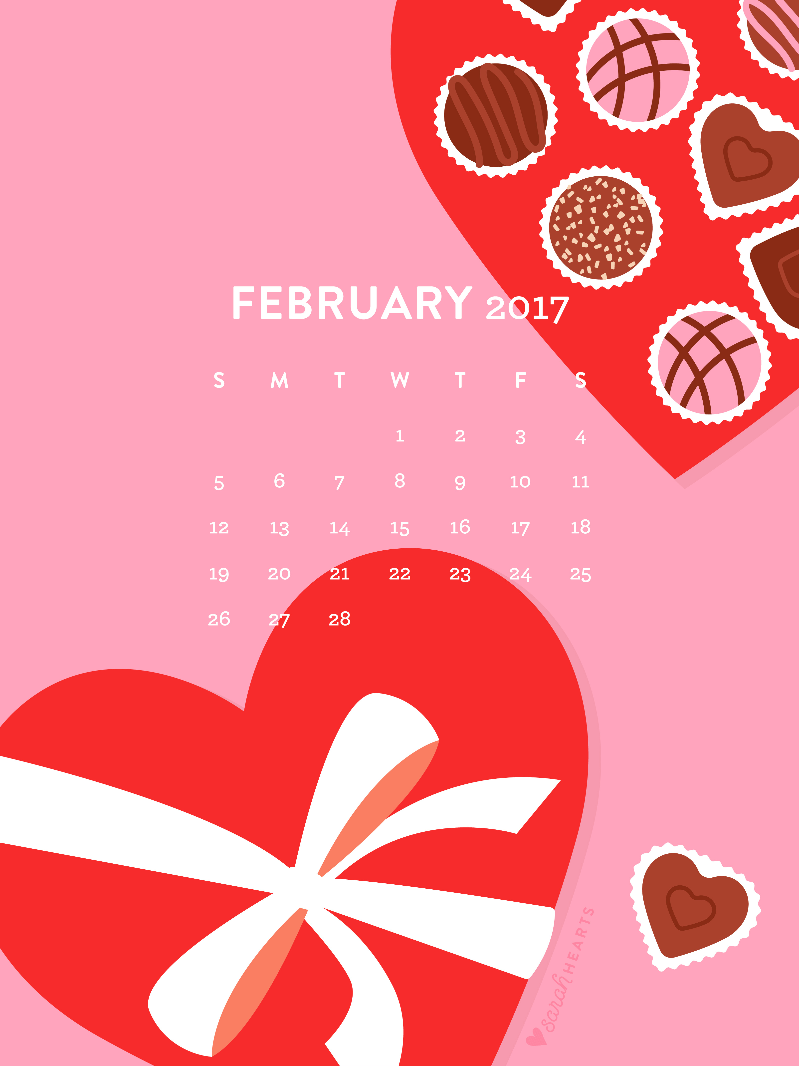 Calendar Wallpaper Ipad : Valentines february calendar wallpaper sarah hearts
