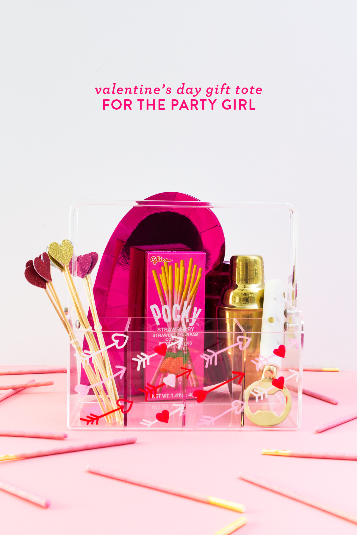 Create this one-of-a-kind Valentines Day gift tote for your BFF that is the life of any party!