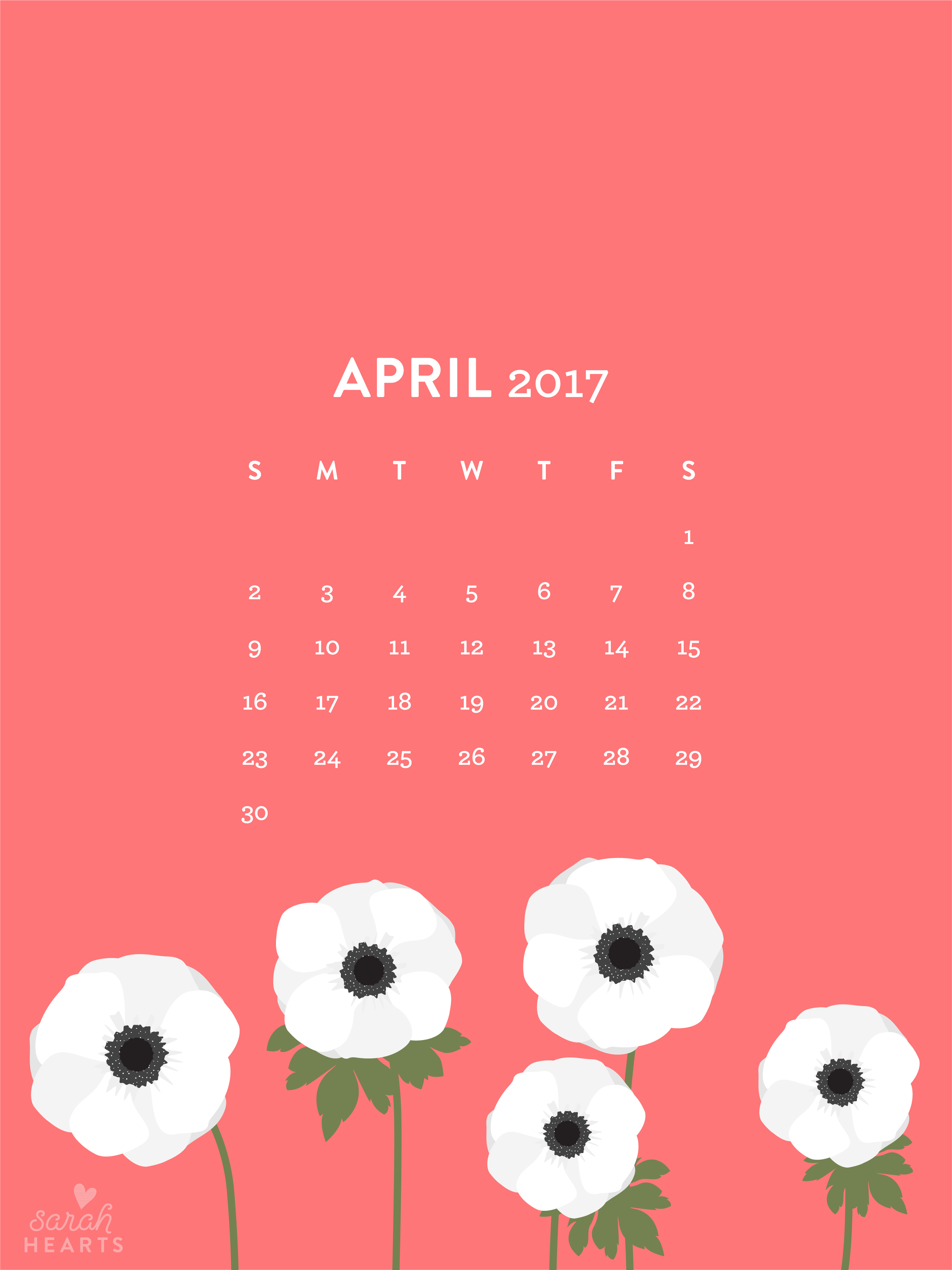 Calendar Wallpaper Ipad : White anemones april calendar wallpaper sarah hearts