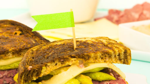 Use up your left over corned beef from St. Patrick's Day to make these delicious @HarvestSnaps reuben sandwiches!