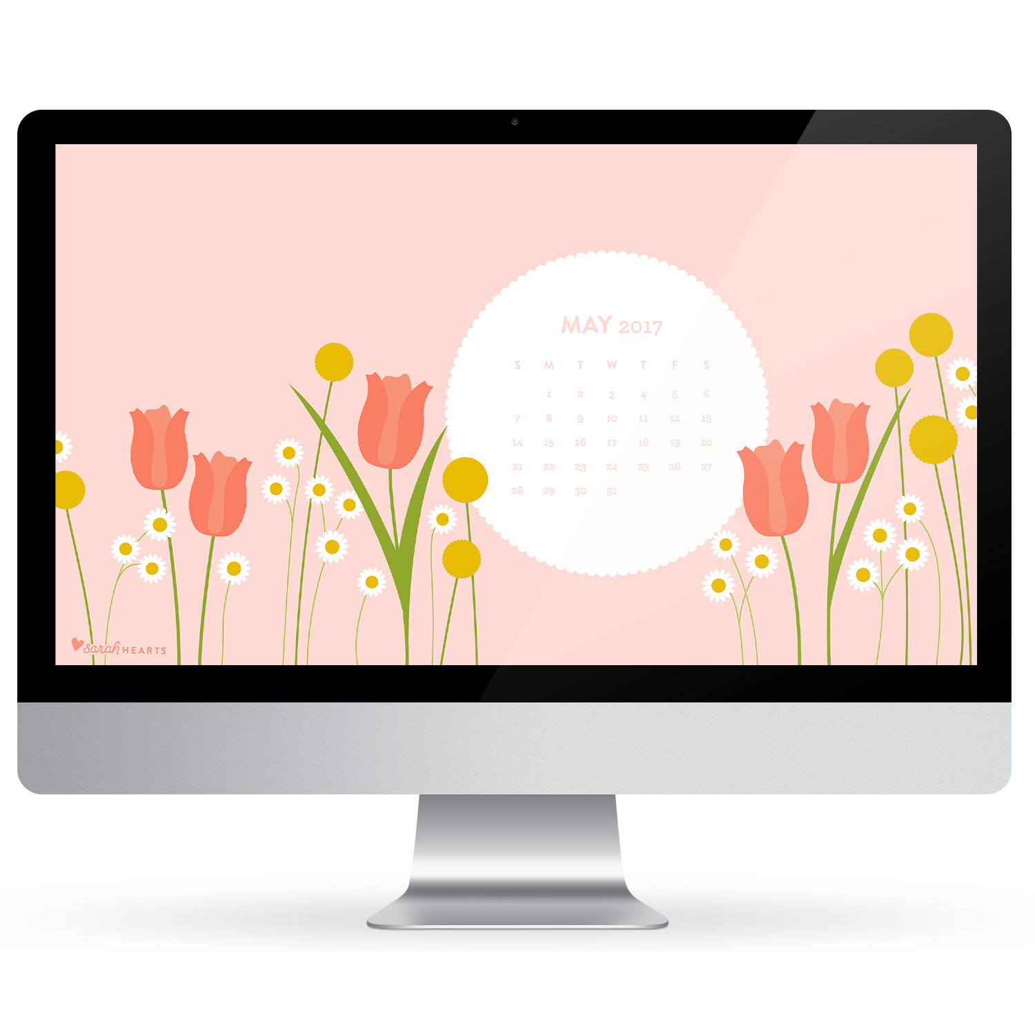 Add beautiful spring flowers to your computer, phone and tablet with this free May 2017 calendar wallpaper.