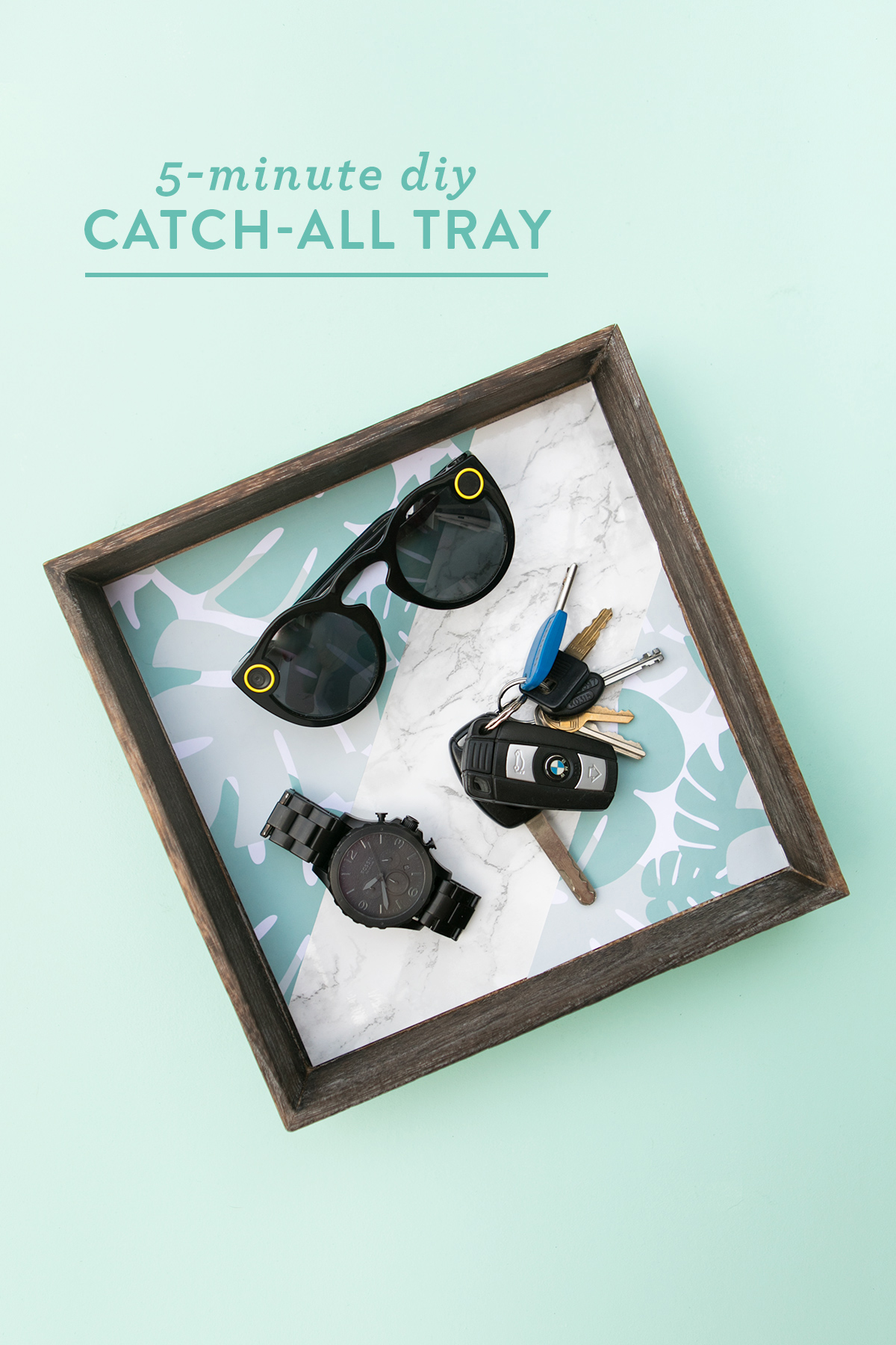 Make this custom catch-all tray in 5 minutes! Makes a perfect gift for dads on Father's Day!