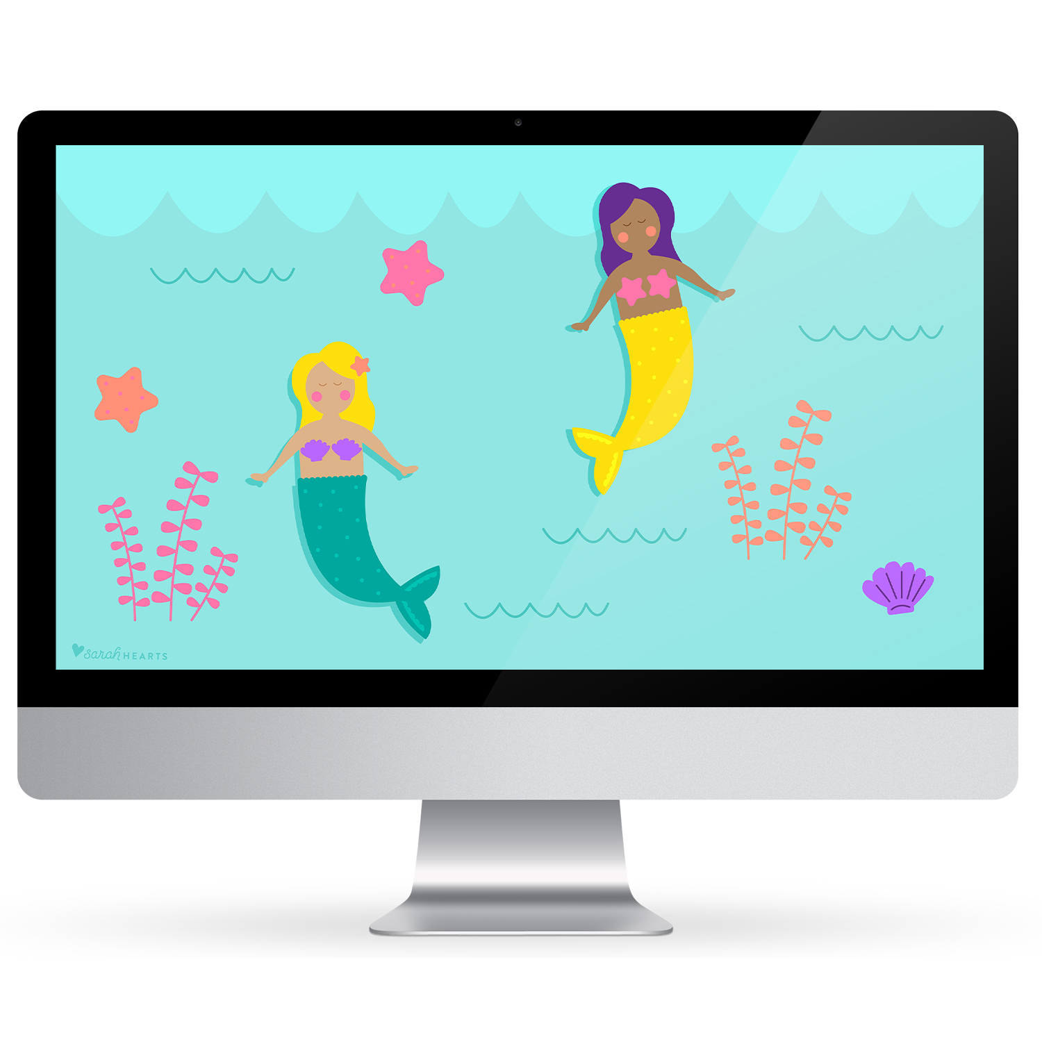 Drive into summer with this free mermaid wallpaper! Click through to download for your computer, phone and tablet.