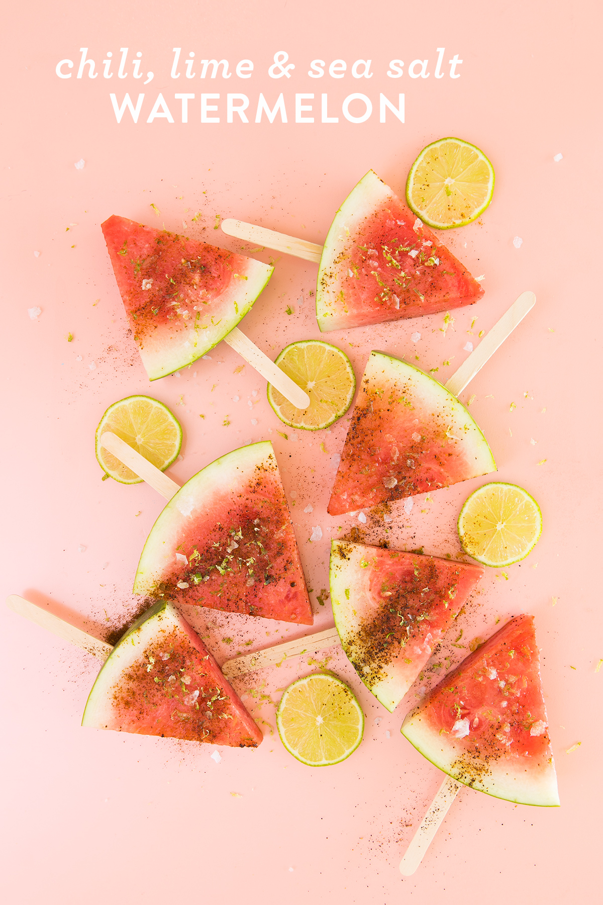 This super simple watermelon recipe with chili powder, lime and sea salt is the perfect summer snack. Serve it on popsicle sticks for an easy to eat and healthy treat.