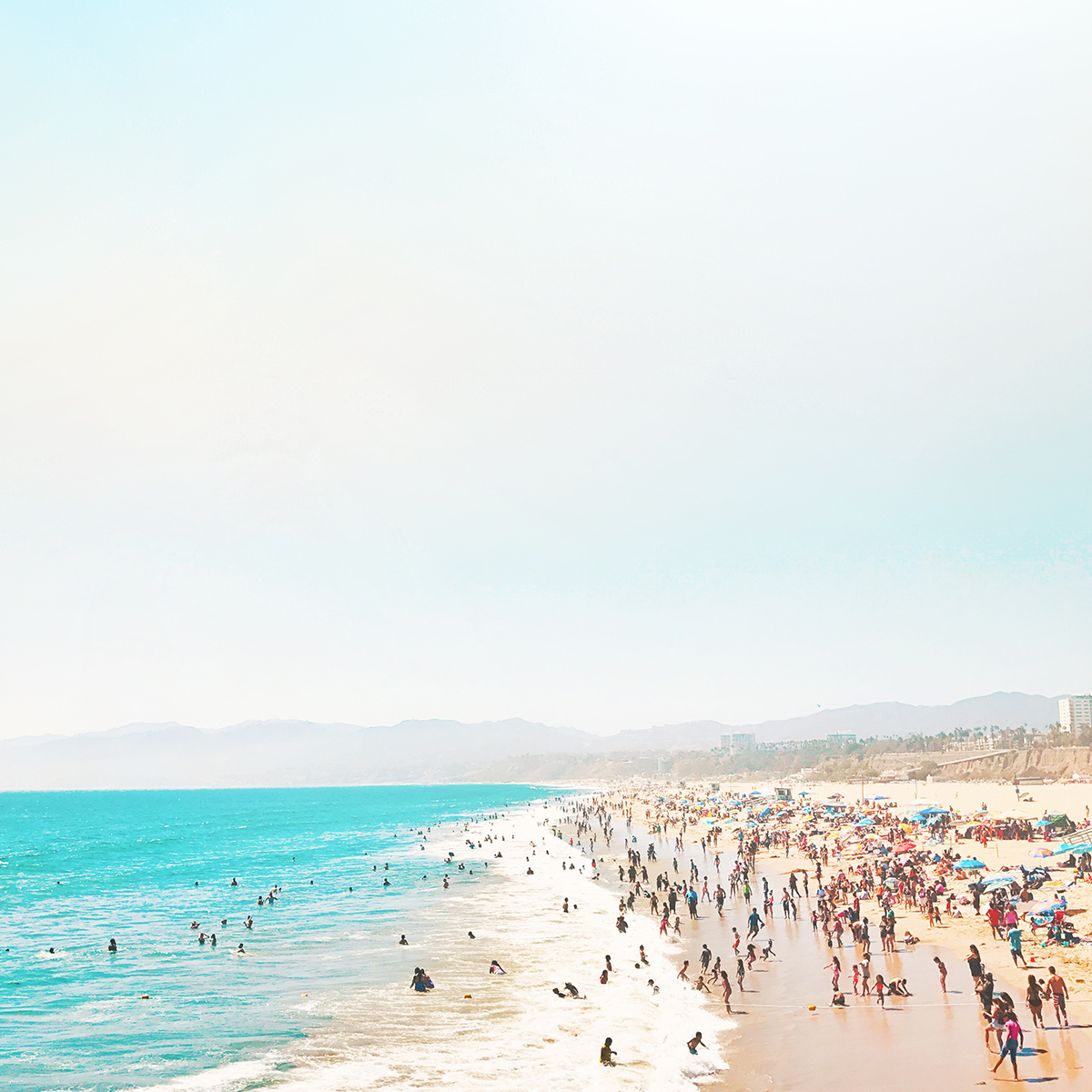 View of the beach from the Santa Monica Pier in Santa Monica, California.