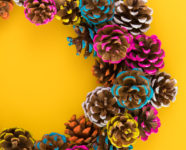 DIY Colorful Pine Cone Fall Wreath