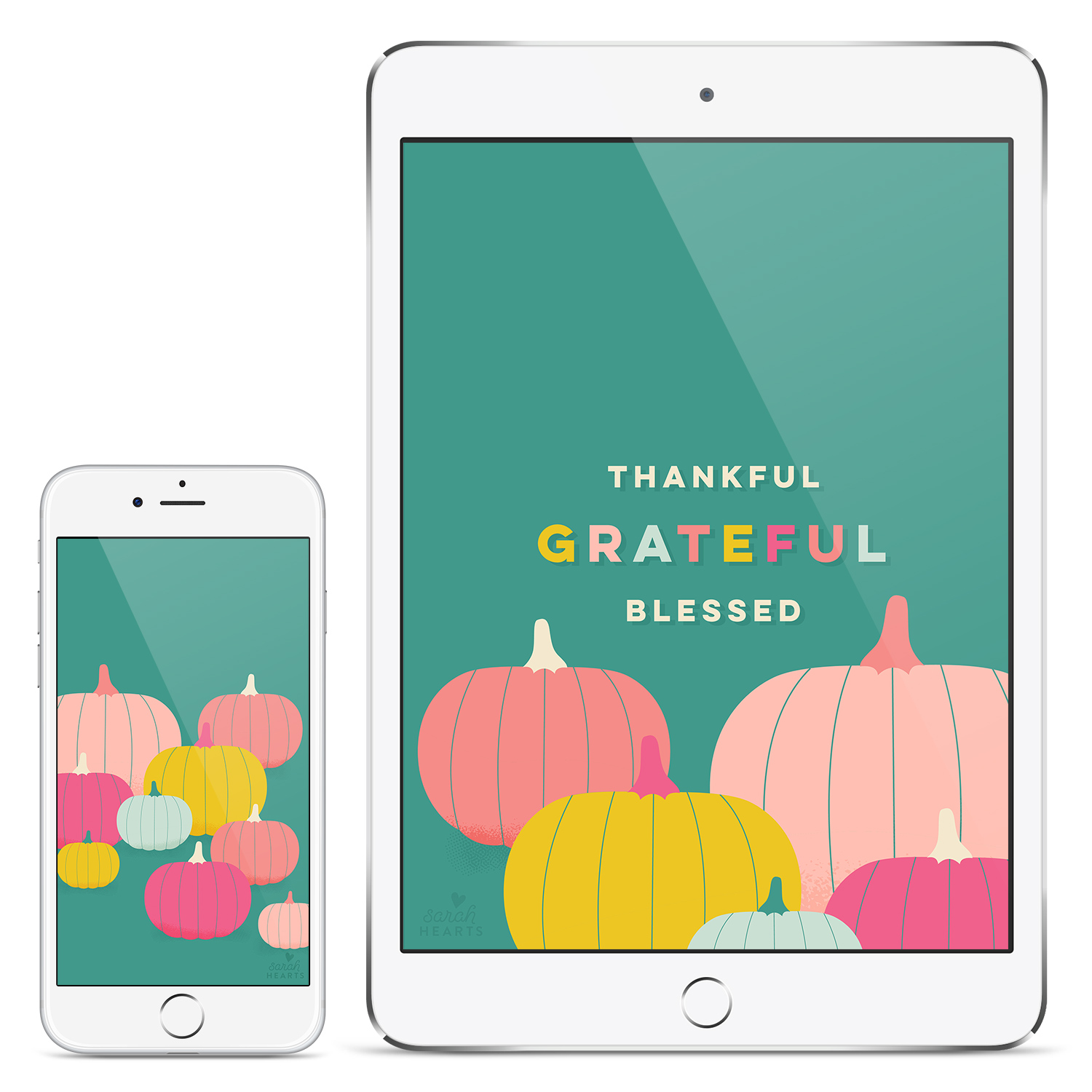 Add a touch of fall on your iPhone, iPad or tablet with this free colorful pumpkin fall wallpaper.