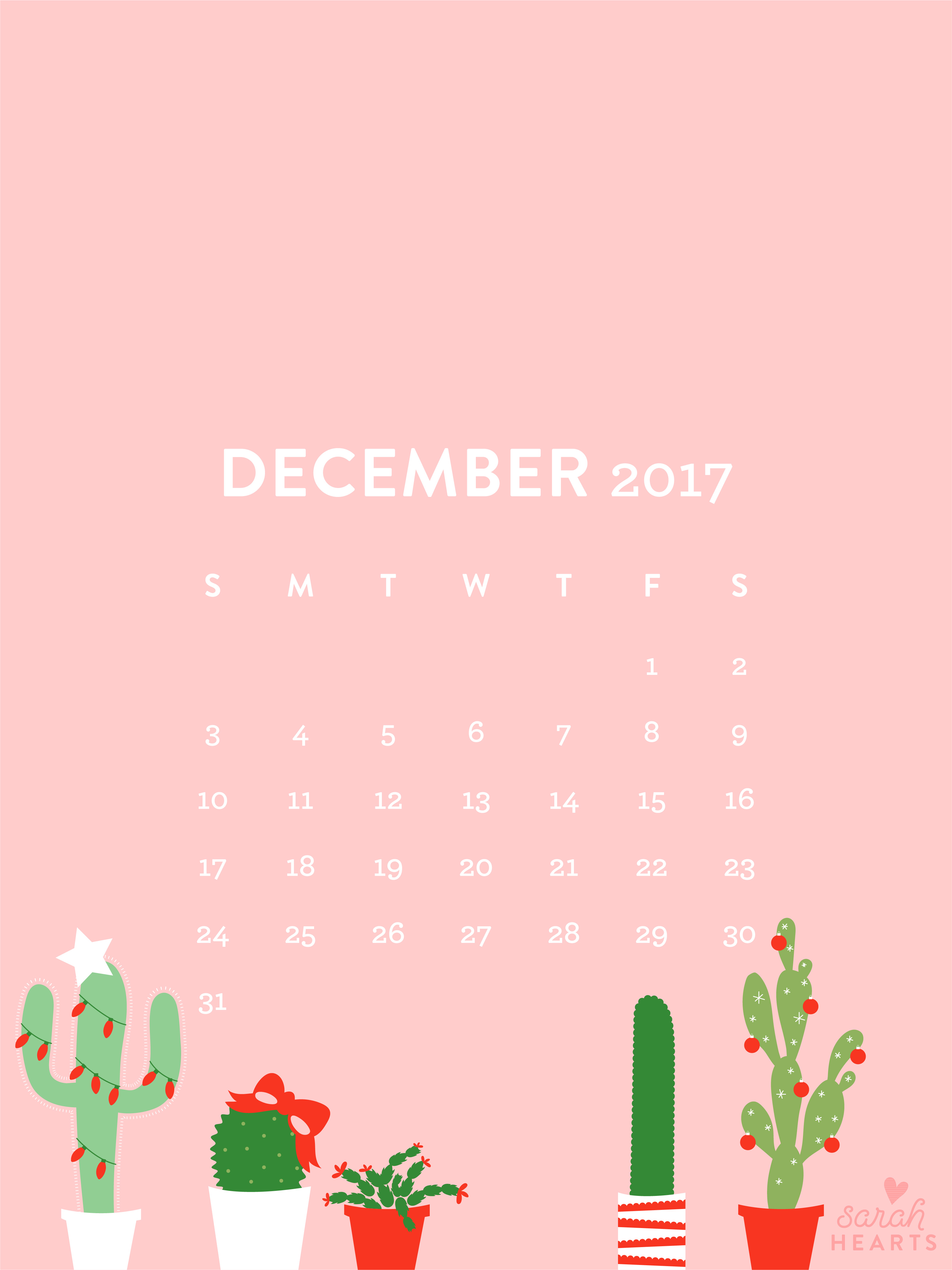 December 2017 Christmas Cactus Calendar Wallpaper - Sarah ...