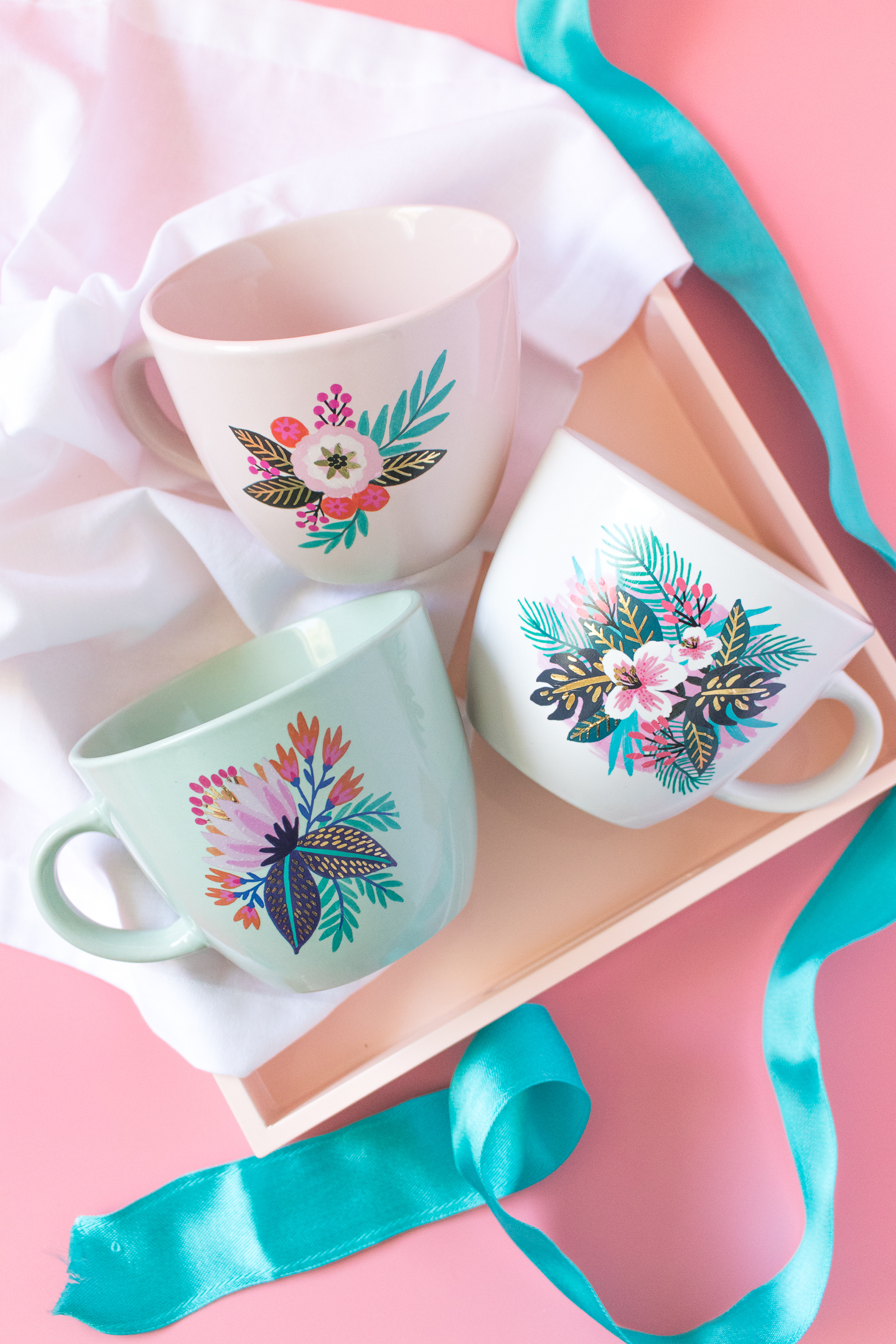 Photo of DIY floral mugs
